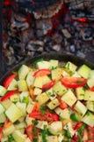 Pomidory, zucchini, peper, cebula gotująca zdjęcie royalty free
