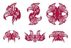 Płomienni feniks głowy symbole Zdjęcia Royalty Free