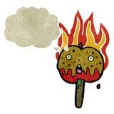 pomme chaude flamboyante de caramel de rétro bande dessinée Photos stock