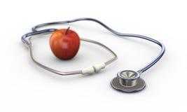 pomme 3d et stéthoscope rouges Image libre de droits