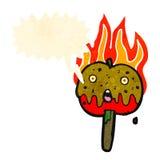 pomme de caramel de bande dessinée avec la bulle de la parole Photos libres de droits