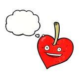 pomme de coeur d'amour de bande dessinée avec la bulle de pensée Photos libres de droits