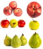 Pomme de poire de pêche sur un vone blanc isolat Photos stock