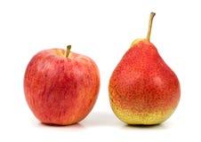Pomme de poire sur le fond blanc Image stock