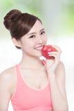 Pomme de prise de femme de sourire Photo libre de droits