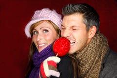 Pomme de taffy allemande de weihnachtsmarkt Photographie stock libre de droits
