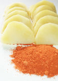 Pomme de terre avec la poudre de piment Image stock