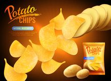 Pomme de terre Chips Advertising Background Image stock
