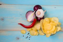Pomme de terre Chips Homemade Photo libre de droits