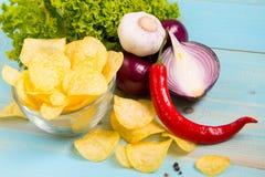 Pomme de terre Chips Homemade Photographie stock libre de droits