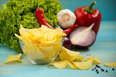Pomme de terre Chips Homemade Photographie stock