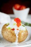 Pomme de terre cuite au four avec du fromage, la crème sure et le caviar rouge images stock