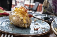 Pomme de terre rôtie du plat bleu bourré du fromage et du lard de cheddar images libres de droits