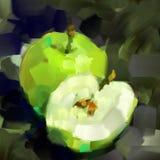 Pomme de vert de peinture de Digital et sa moitié sur un fond gris Photographie stock