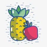 Pomme Delicious avec le fruit d'ananas à la vie saine illustration libre de droits