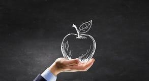 Pomme dessinée par craie comme symbole d'eduaction Photographie stock