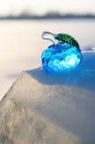 Pomme en verre sur la neige. image libre de droits