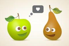 Pomme et poire drôles Photo stock