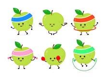 Pomme forte heureuse de sourire mignonne illustration stock