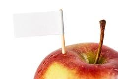 Pomme fraîche avec un signe Photo libre de droits