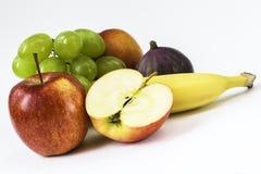 Pomme fraîche, banane, raisins, figue, nectarine Photographie stock libre de droits