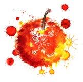 Pomme grunge rouge avec des taches de peinture Photo libre de droits