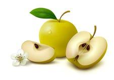 Pomme jaune avec des tranches sur le fond blanc Photo libre de droits