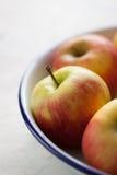 Pomme jaune rouge dans un plat d'émail avec le bord bleu Images libres de droits