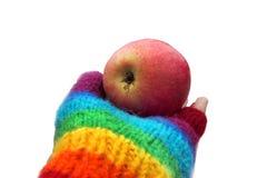 Pomme mûre rouge dans une main dans un gant d'arc-en-ciel Photo libre de droits