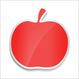 Pomme rouge Autocollant sur le fond blanc Photo stock