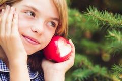 Pomme rouge avec la forme de coeur Image stock