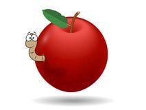 Pomme rouge avec le ver de terre Photo libre de droits