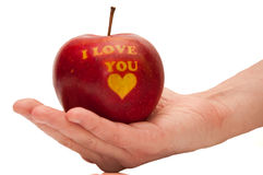 Pomme rouge avec les mots je t'aime Images libres de droits