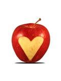 Pomme rouge avec une forme de coeur Image stock