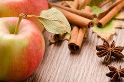Pomme rouge, bâtons de cannelle et anis sur une table Images libres de droits