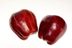 Pomme rouge coupée, moitiés sur le blanc Images libres de droits