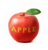 Pomme rouge d'isolement avec le texte Images libres de droits