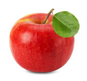 Pomme rouge d'isolement sur le fond blanc Image libre de droits