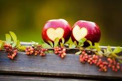 Pomme rouge Delicious avec le coupe-circuit symbolique de coeur Photo stock