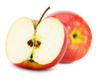 Pomme rouge et moitié de pomme sur le fond blanc Images libres de droits