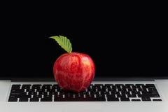 Pomme rouge fraîche sur le clavier d'ordinateur portable Photo libre de droits