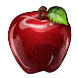 Pomme rouge juteuse d'isolement sur un fond blanc Élément d'une alimentation saine Illustration en gros plan de bande dessinée de Illustration Stock