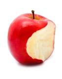 Pomme rouge mordue Photographie stock libre de droits