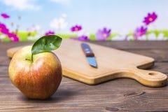 Pomme rouge sur la table Photographie stock libre de droits