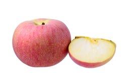 Pomme rouge sur le fond blanc Images libres de droits