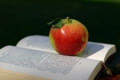 Pomme rouge sur le livre photographie stock libre de droits