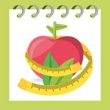 Pomme saine Delicious avec des feuilles et la mesure illustration stock