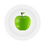 Pomme savoureuse douce sur l'illustration de vecteur de plaque Photographie stock libre de droits