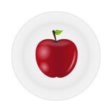 Pomme savoureuse douce sur l'illustration de vecteur de plaque Photos stock