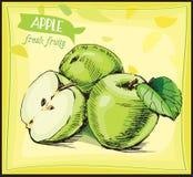 Pomme tirée par la main de croquis Fruit frais image stock